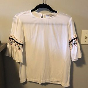 Loft blouse with embroidered sleeves